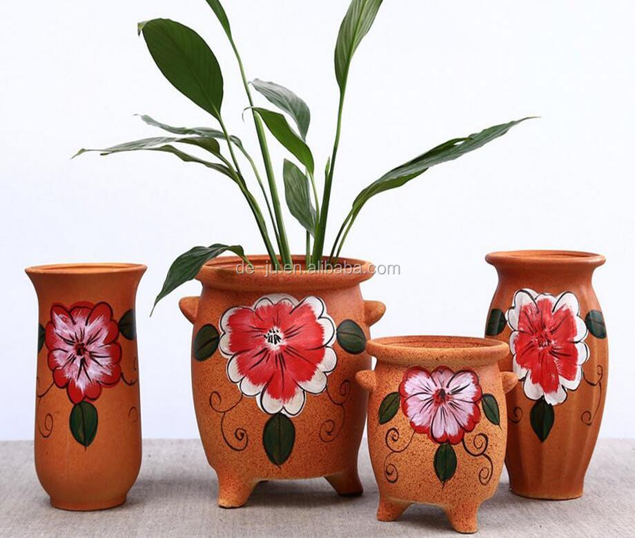 Orange Ceramic Flower Pot Painting Designs