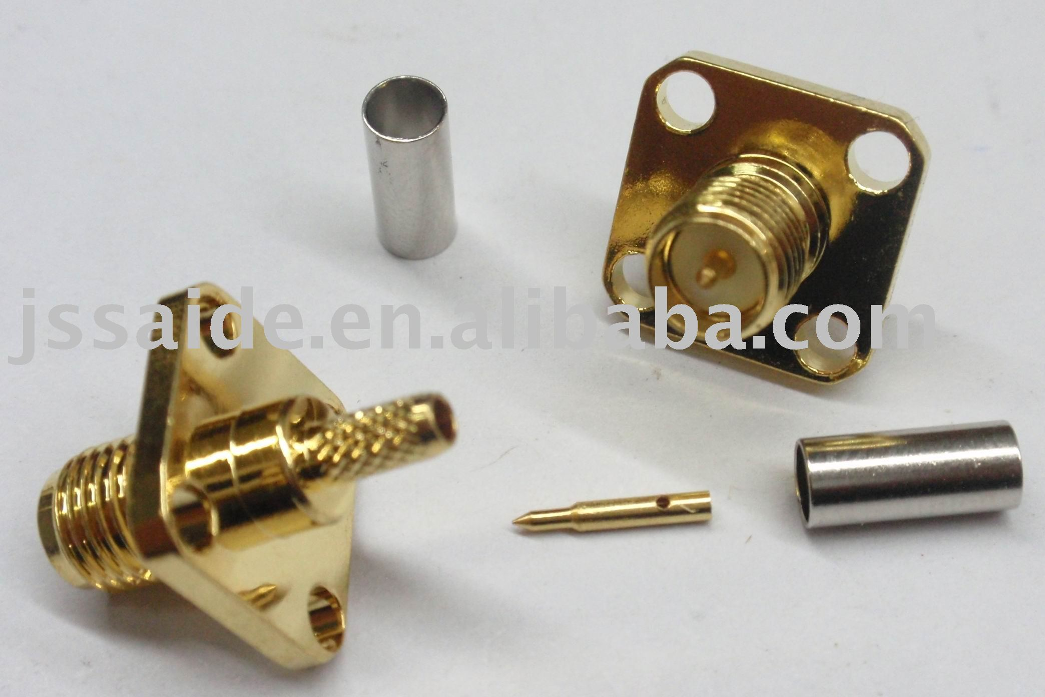 {16}RP-SMA female flange panel mount crimp connector for RG316
