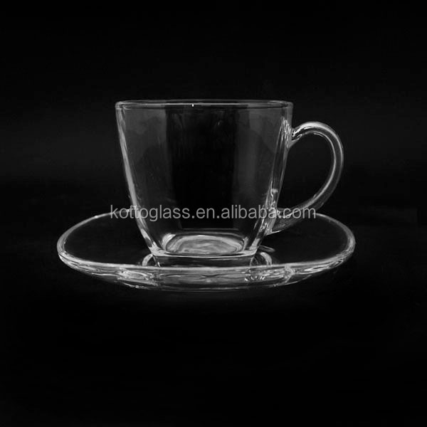 Clear Glass Tea Cup with Saucer, 2 pc Glass Saucer with Tea