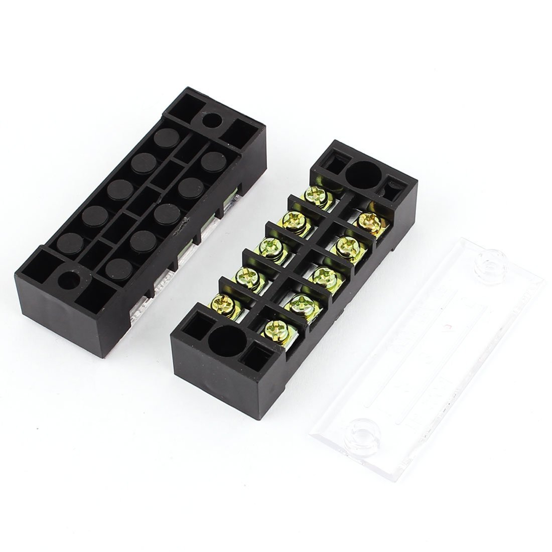 Aexit 2 Pcs 600V 15A 5P Dual Row Barrier Terminal Block Cable Connector Bar