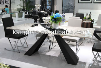 Kangbao New Design Modern Marble Top With Chorme Leg Karachi Furniture Dining Table