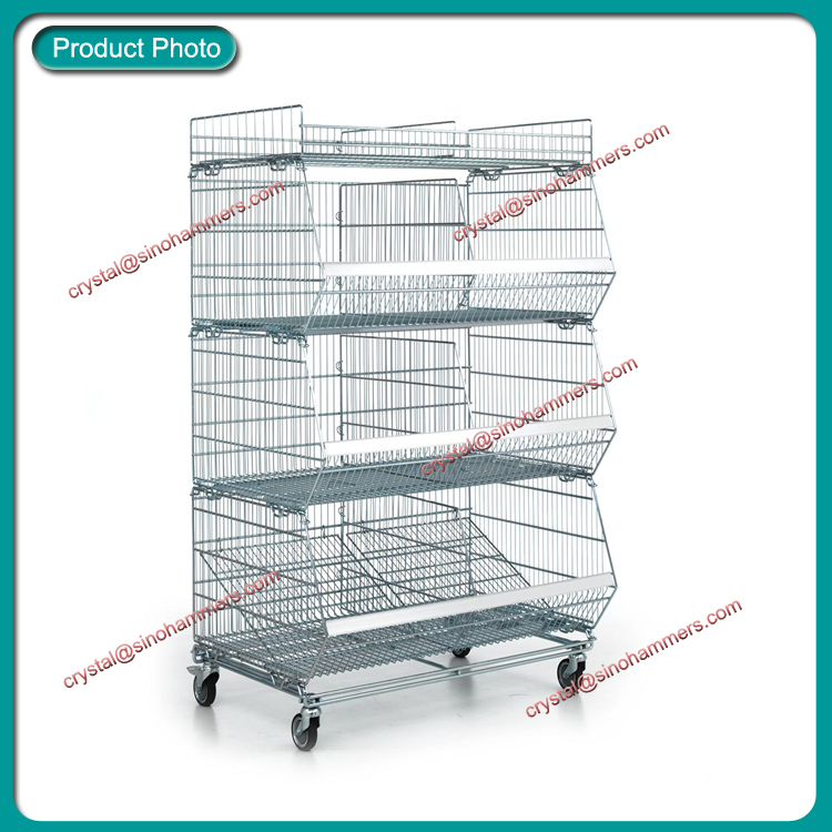 Collapsible metal basket display stand,wire mesh stacking basket stand with wheels