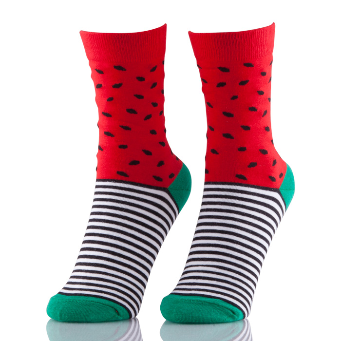 Hot Novelty Fruit Pattern Watermelon  Personality Jacquard Cotton Women Socks Casual Cute Socks
