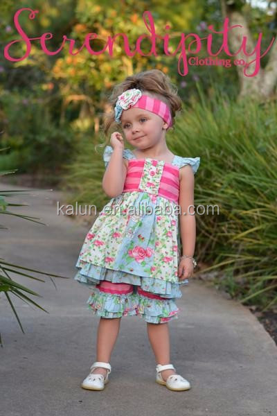 kL-OF-119 Summer Stripes And Flower Tunic Ruffle Pants Set Giggle Moon Remake Outfits Girls Boutique Childrens clothing