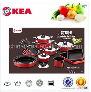 25pcs Jumbo cookware set with non-stick speacial design coated cookware sets aluminum use S/S lid