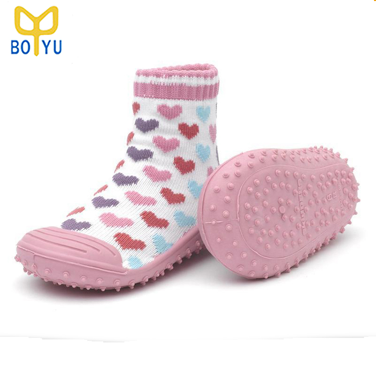 By-3587 Knitted Baby Sock Shoe Rubber