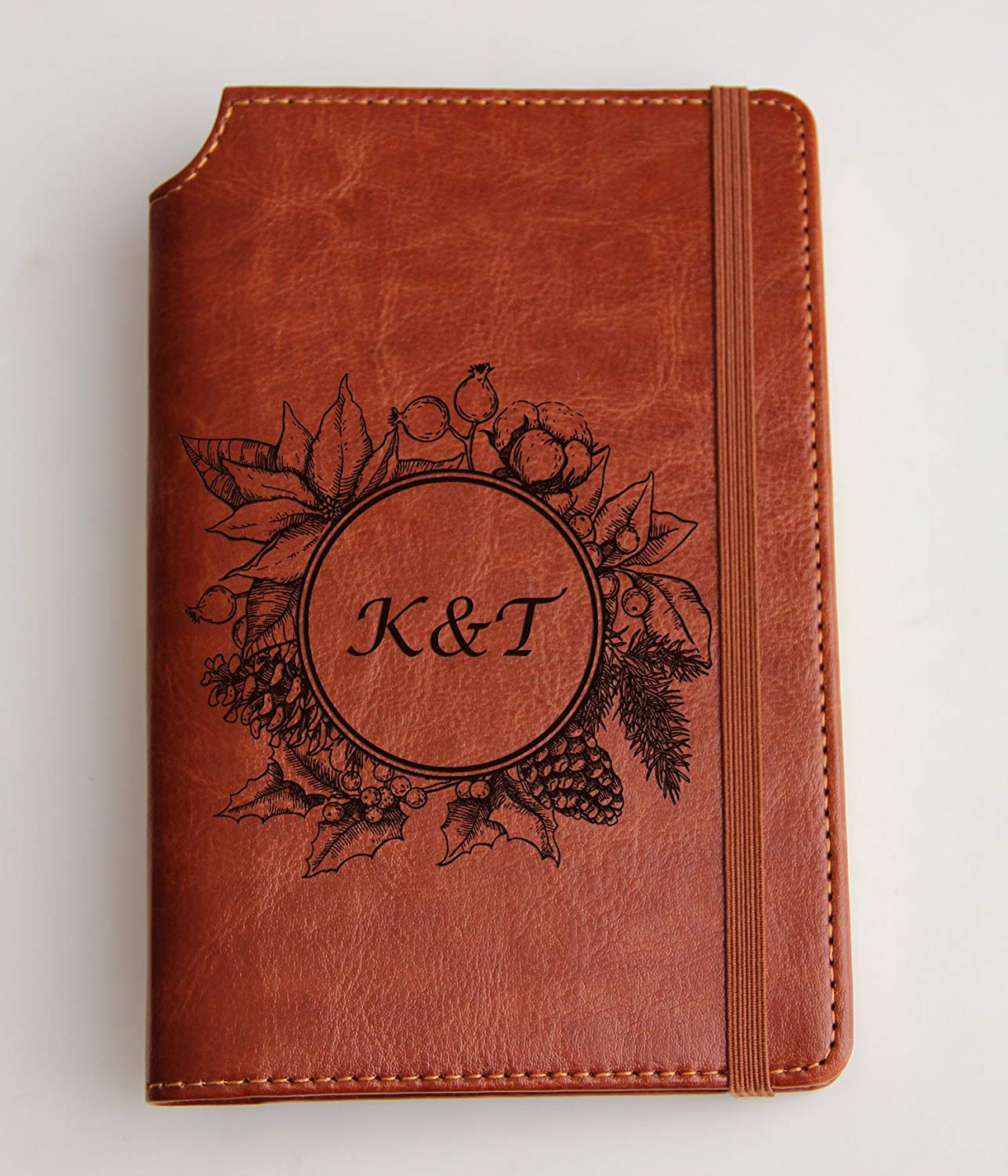 Pine cone frame initials Customizable laser engraved rooster Journal Customizable engraved Journal leather bound, strip with the same color to keep it closed, personalized, personalization