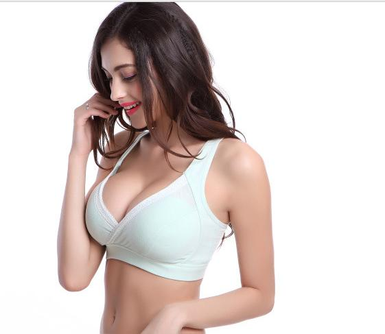 5a9174f098f7e Pregnant women vest type button nursing underwear bra nursing bra no rims  together before exercise prevent sagging cotton
