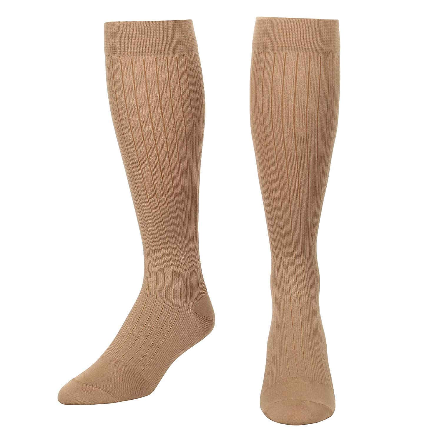 Microfiber and Cotton Compression Socks for men with - Dress Sock look and feel - Graduated Support Socks 15-20 mmHg - 1 Pair - Made In USA - Absolute Support - Sku: A1013 (Khaki, XL)