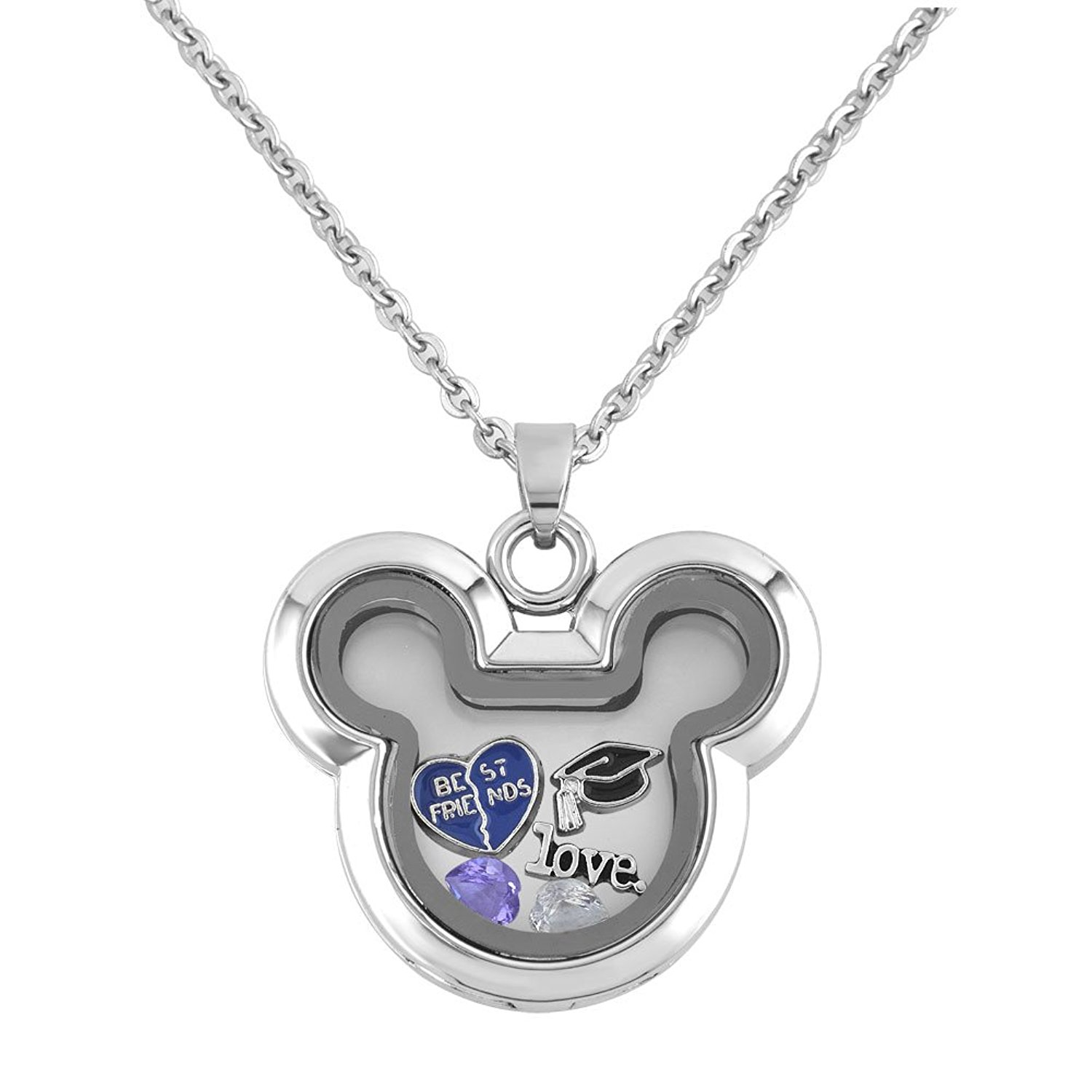 Mickey Mouse Silver Floating Charm Locket with Chain and Birthstones
