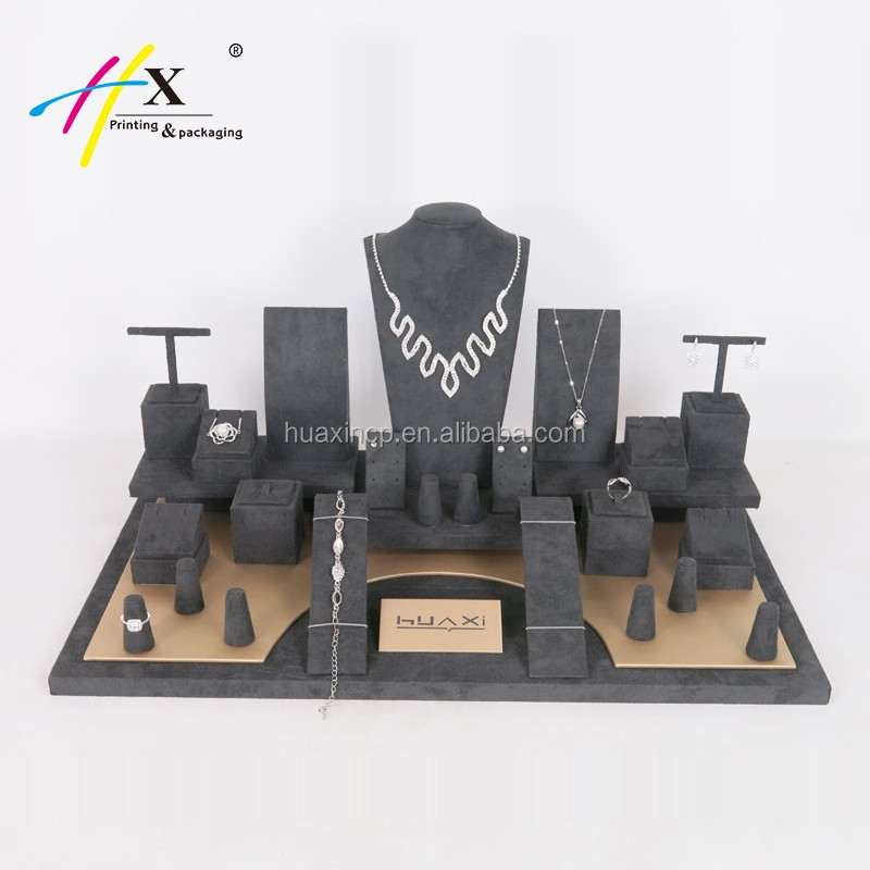 (High) 저 (quality 나무 Jewelry display dark gray suede jewelry display 소품