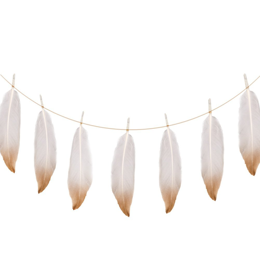 284b9211cc0 Ling s moment 6 FT Boho Banner Gold Dipped Feather Garland for Bohemian  Bridal Baby Shower Teepee