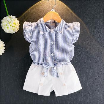 991184db2b1ee F10231A Coréen petites filles chemise rayée + shorts costumes vêtements pour  ...