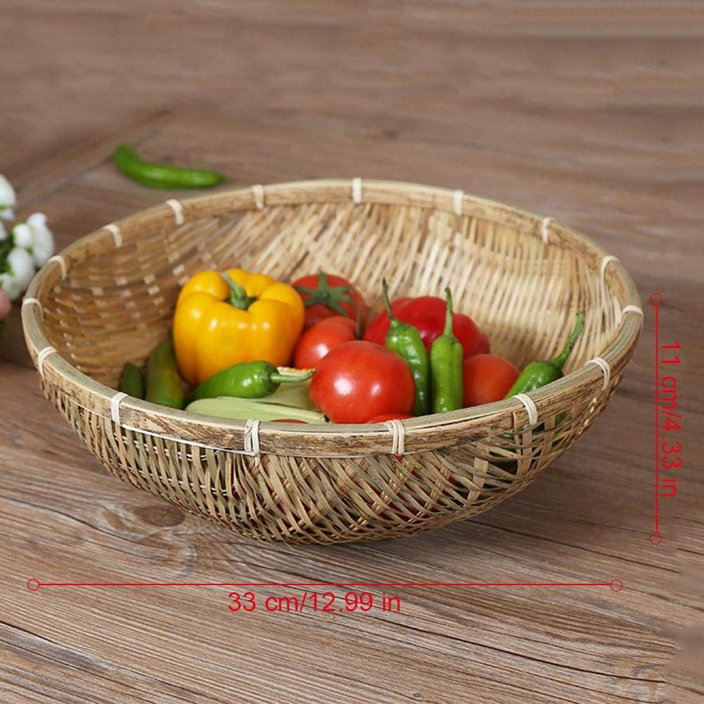 Prom-near Storage Baskets Hand-Woven Bamboo Baskets Handmade Home Storage Basket Ideal Multi-Purpose Basket Dustpan Fruits Vegetables Drain Basket for fruit, Vegetables, Bread, Food Serving, Storage o