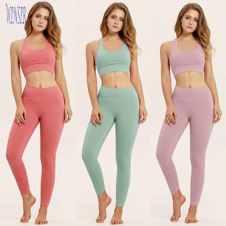 4e8f75388 Verano de 2 piezas conjunto mujeres Atlético yoga ropa de fitness deportiva  de cintura alta gimnasio