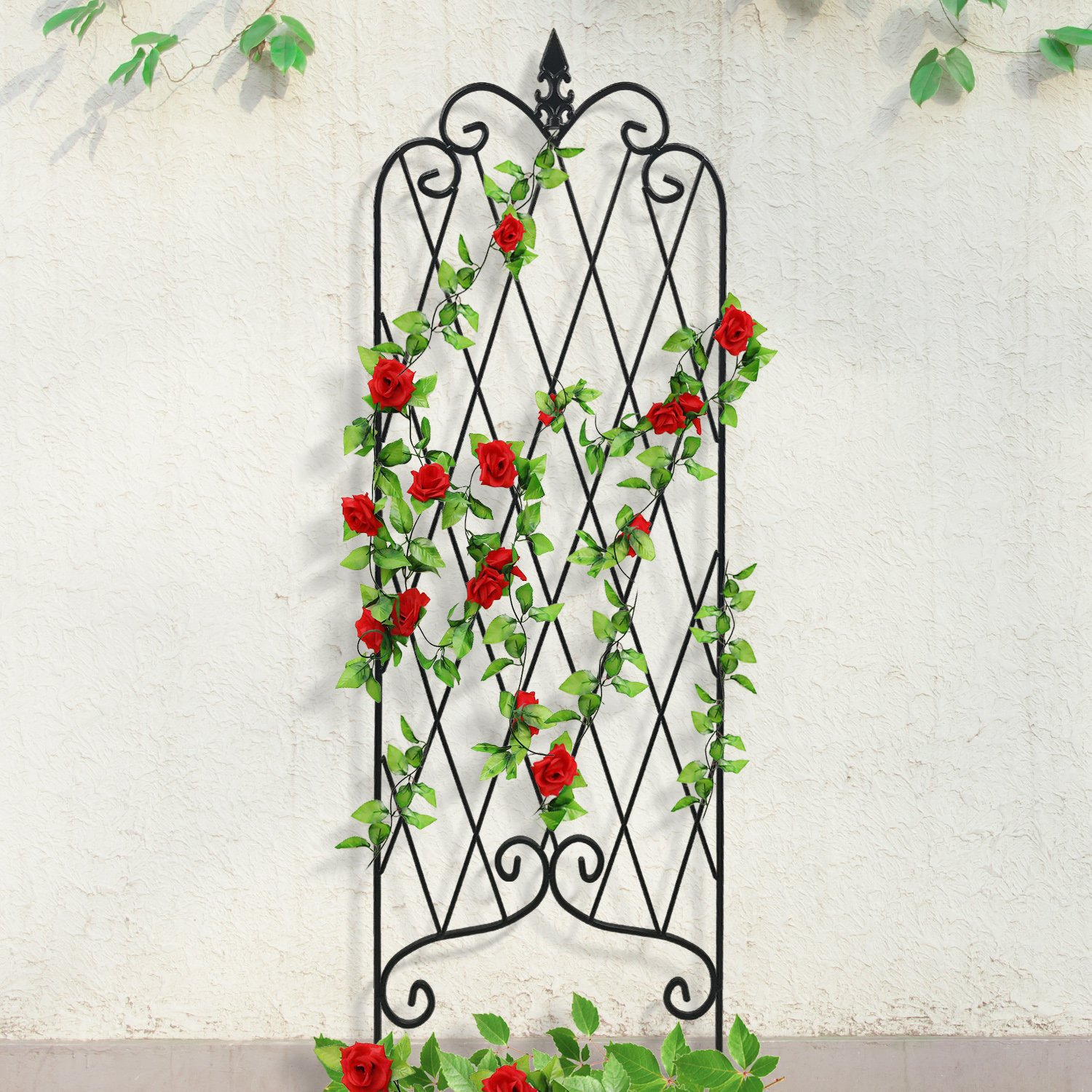 "Amagabeli Garden Trellis for Climbing Plants 47"" x 16"" Rustproof Black Iron Potted Vines Vegetables Vining Flowers Patio Metal Wire Lattices Grid Panels for Ivy Roses Cucumbers Clematis Pots Supports"