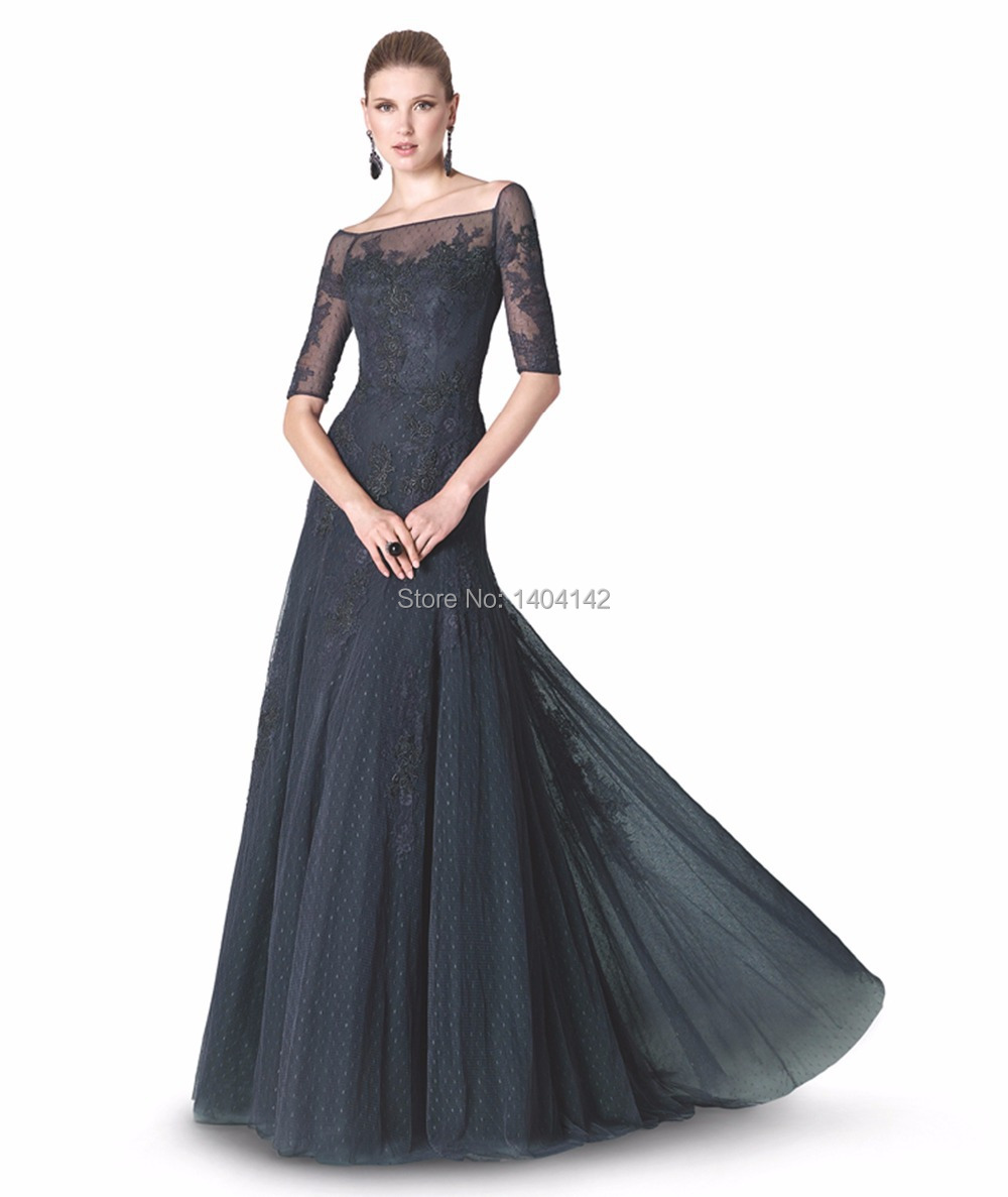 Cheap Black Evening Dress With Lace Sleeves, find Black Evening ...