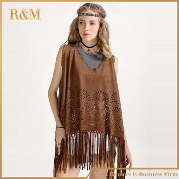 107454530 Fashion Women Tassel suede vest Shawl Wrap Scarf Women Faux Suede Leather Tassel  Shawl Fringe Flower