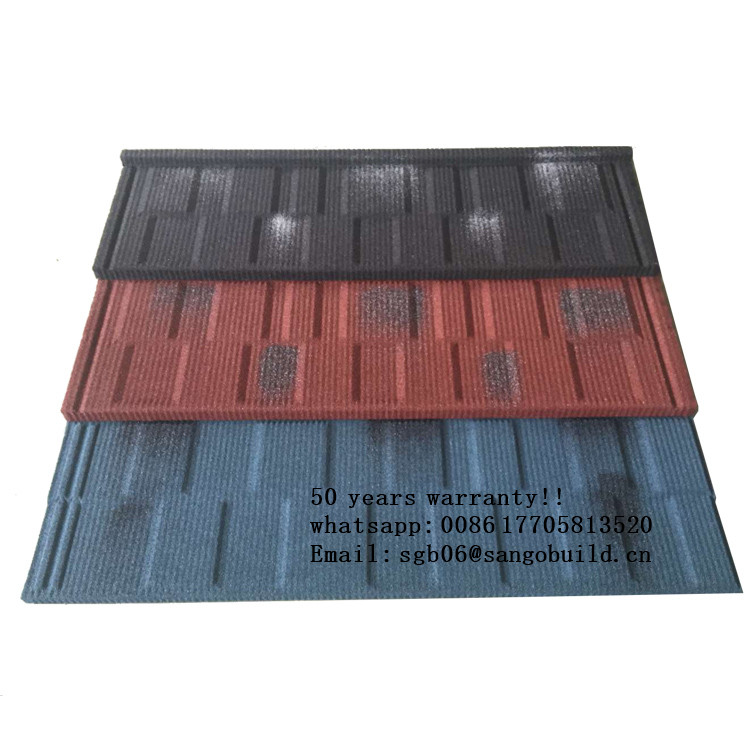 Color stone Painted Steel Roof Tiles/ Color glazed steel sheet roofing/step tile