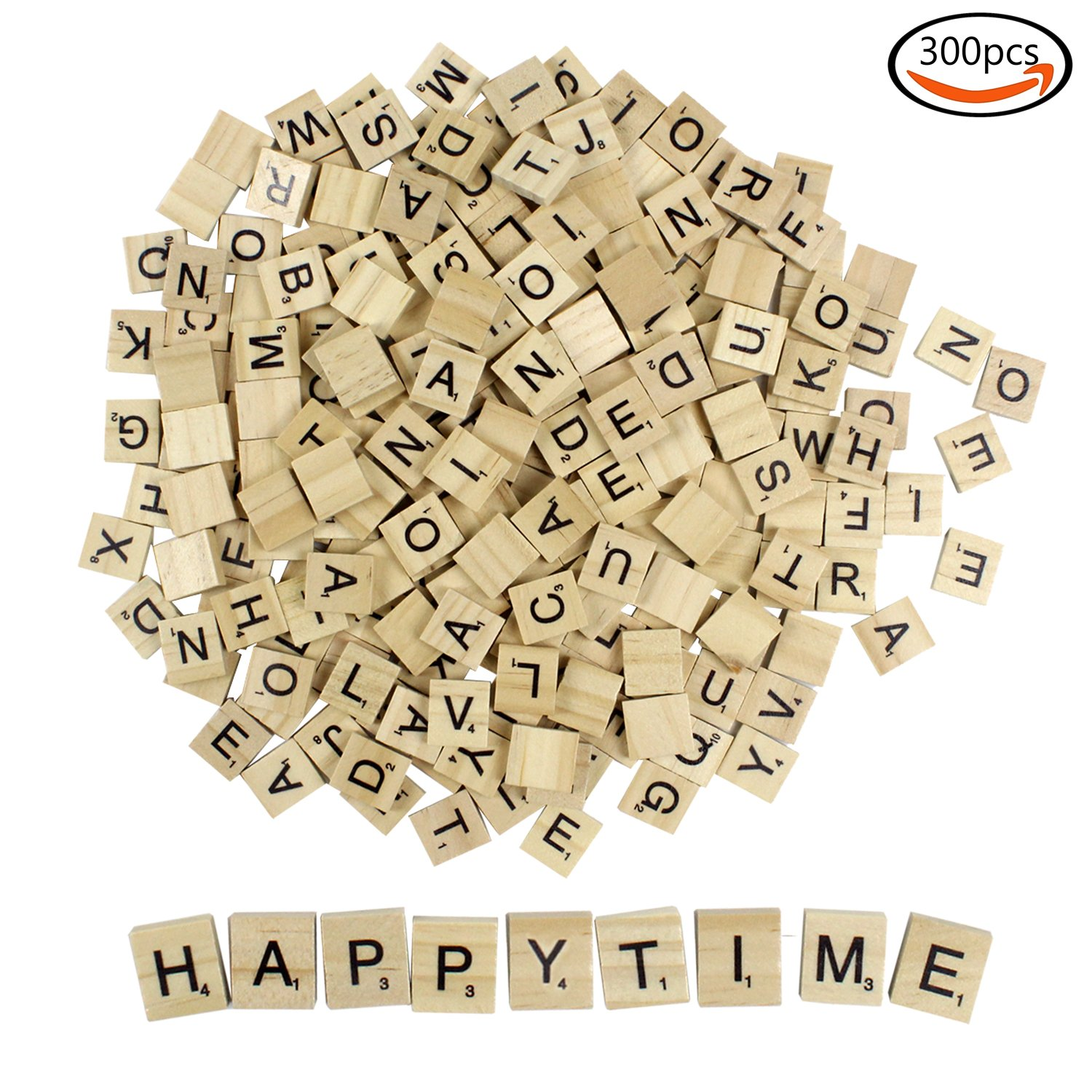 Goodlucky Wood 300pcs Scrabble Tiles Scrabble Letters Used for Replacement Game Letters