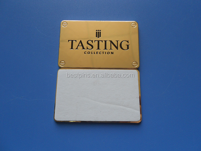 HIGH QUALITY Etching Company Brass Black Enamel Logo Screws Type Self Adhesive Wine Label