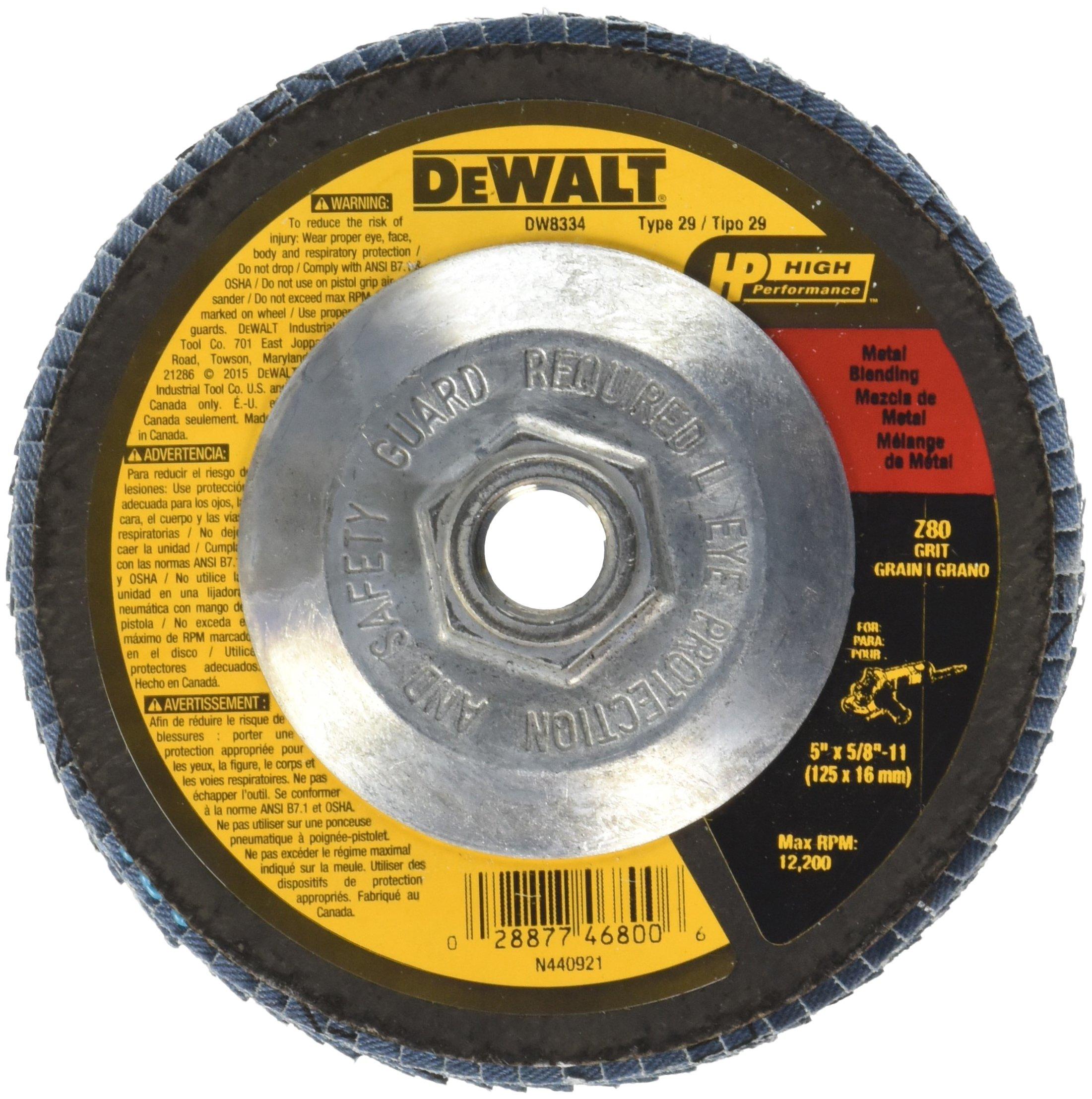 DEWALT DW8334 5-Inch by 5/8-Inch-11 80 Grit Zirconia Angle Grinder Flap Disc
