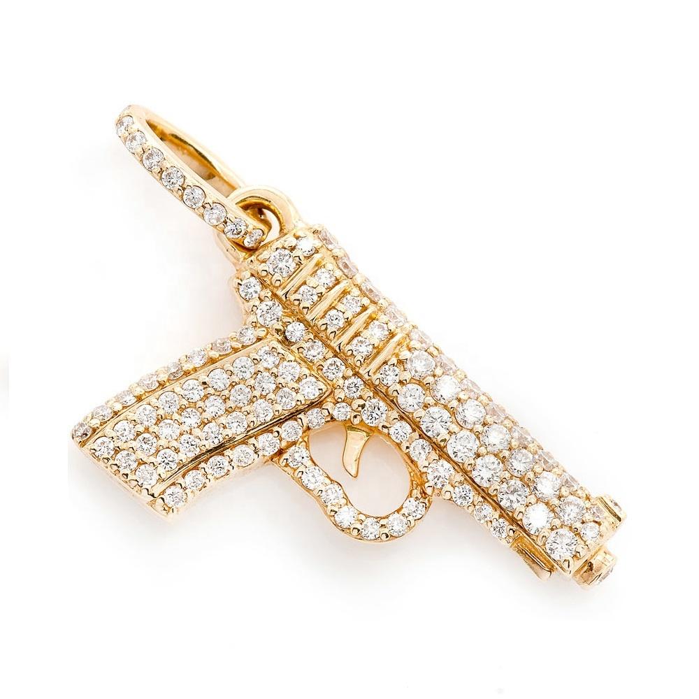 LOZRUNVE 925 серебро хип-хоп Полный алмаз CZ камень проложить пистолет кулон ювелирные изделия