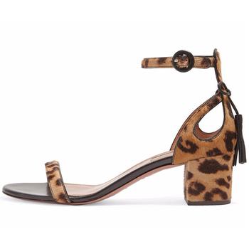 f2be3496210 China Wholesale Women s Shoes Sexy Ladies Leopard Ankle Strap Buckle  Tassels Open Toe Block Medium Heel