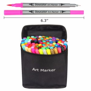 Best selling 100 Colors Dual Tip Brush Pens Art Markers with EN71 MSDS ASTM