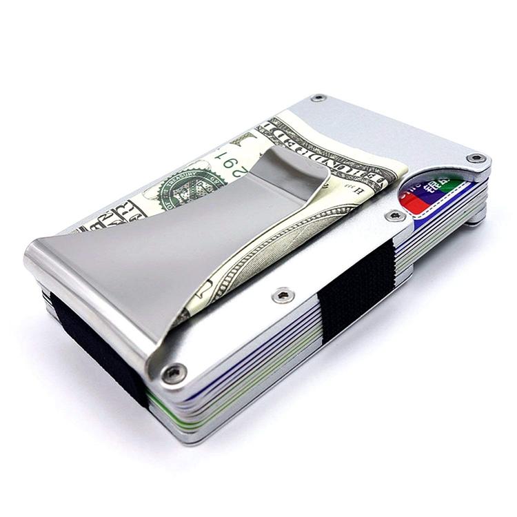 MRF-05 premium aluminum hard case Custom Metal Wallet Credit Card Holder, Aluminum Money Clip Wallet with rfid Blocking