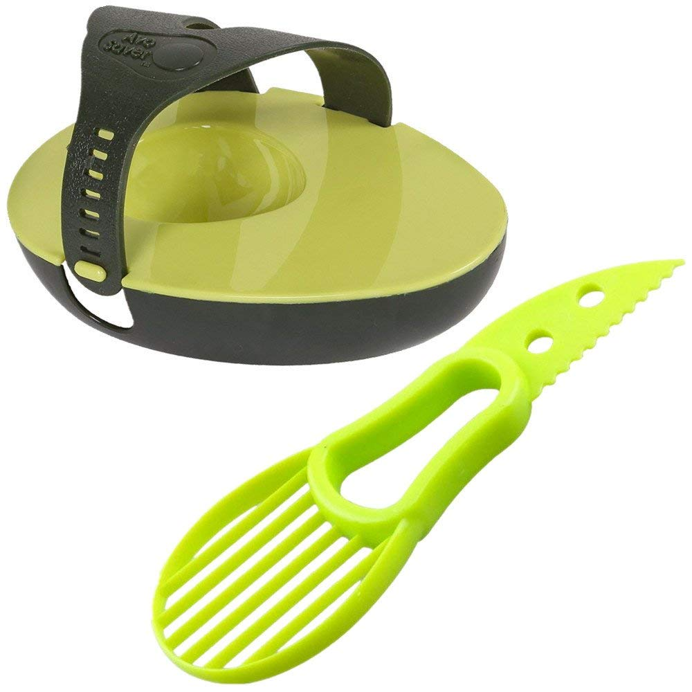 Yocome 3-in-1 Avocado Slicer Tool and Avocado Saver 2 Pcs - Multi-functional Avocado Cutter Peeler Pitter Splitter and Avocado Keeper Corer-Stay Fresh Saver Storage Container Kit