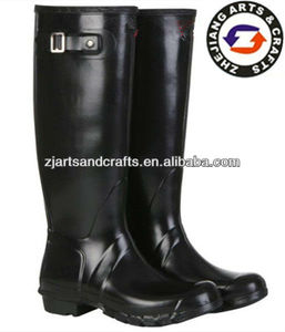 Luxury black rubber long boots women rain wellies with buckle
