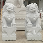 Hand Carved Classic Design Outdoor Stone Marble Foo Dog Sculpture Statue