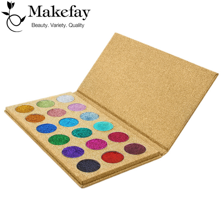 No Logo Make Up Cosmetics 18 Color Pressed Glitter Eyeshadow Palette with Golden Box