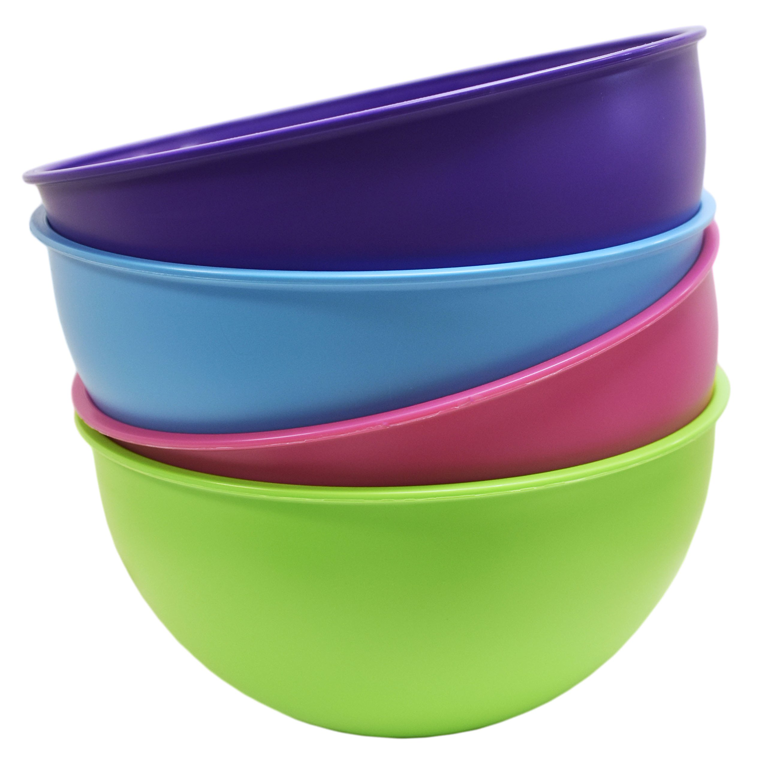 """Set of 4 Bright & Beautiful Prep Bowls! Pink, Green, Purple, Blue - BPA Free - Dishwasher Safe - 84.5 FL OZ - 8.25"""" x 4.25"""" - Bowls Perfect for Mixing, Serving, Utility, Parties, & More!"""