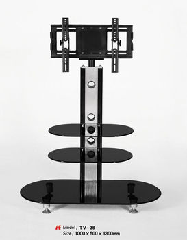 3 Tier Oval Glass Lcd Tv Stand With Adjustable Tv Bracket Buy 3