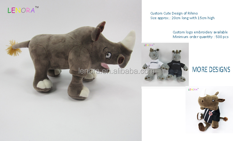Factory direct sale custom design plush toy simulation station posture rhinoceros creative gift animal stuffed custom rhino toys