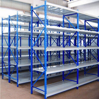 Assembled warehouse rack and shelves