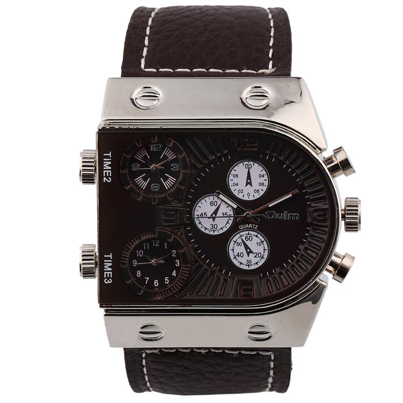 3 time zone leather strap Top Luxury Brand Oulm Japan quartz movement quartz analog watches фото