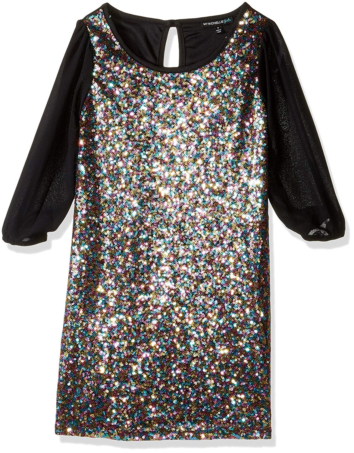Get Quotations · My Michelle Big Girls  Long Sleeve Sheath Dress With  Glitter Sequin Front With Sheer Sleeves 3a91ebc978c2