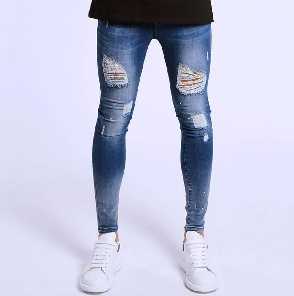 bfc078e5 2019 New arrival men fashion button fly skinny jeans European popular  distressed paint splat stretch jeans