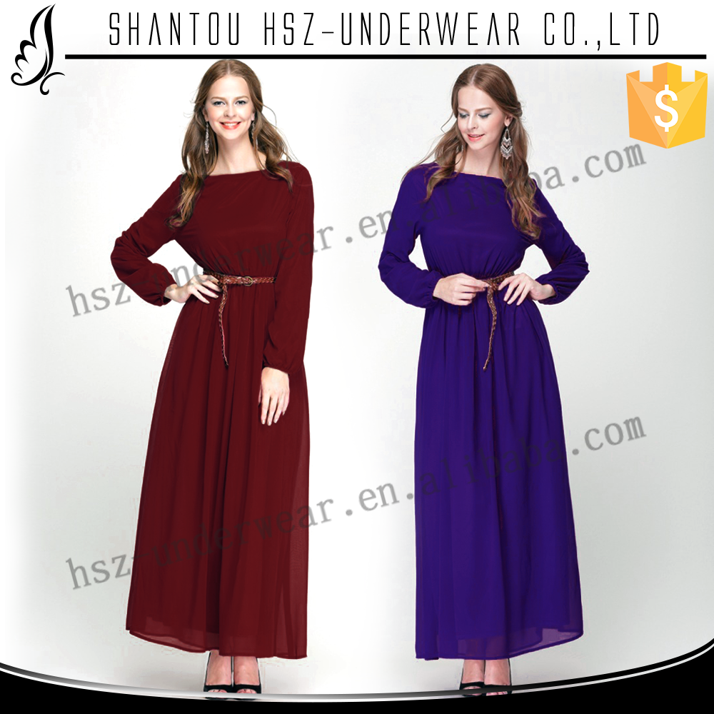 Zakiyyah 10015 Simple Design Long Sleeves Muslim Dresses with Belt Abaya Muslim Wholesale in Malaysia India