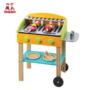 Children outdoor food play kids wooden barbecue grill BBQ kitchen set toy for 3+