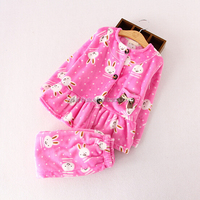 Breathable thermal printed for Winter sleep cloth coral fleece pajamas