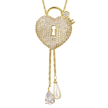 00976 xuping luxury long heart cz love gift china import women fashion 14k gold plated jewelry necklace