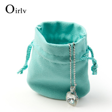 Oirlv Wholesale Custom Logo Suede Jewelry Bags for Long Necklace Bracelet Drawstring Jewellery Pouch