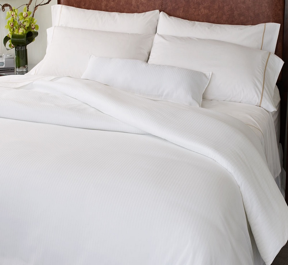 hotel white cotton fitted flat sheet
