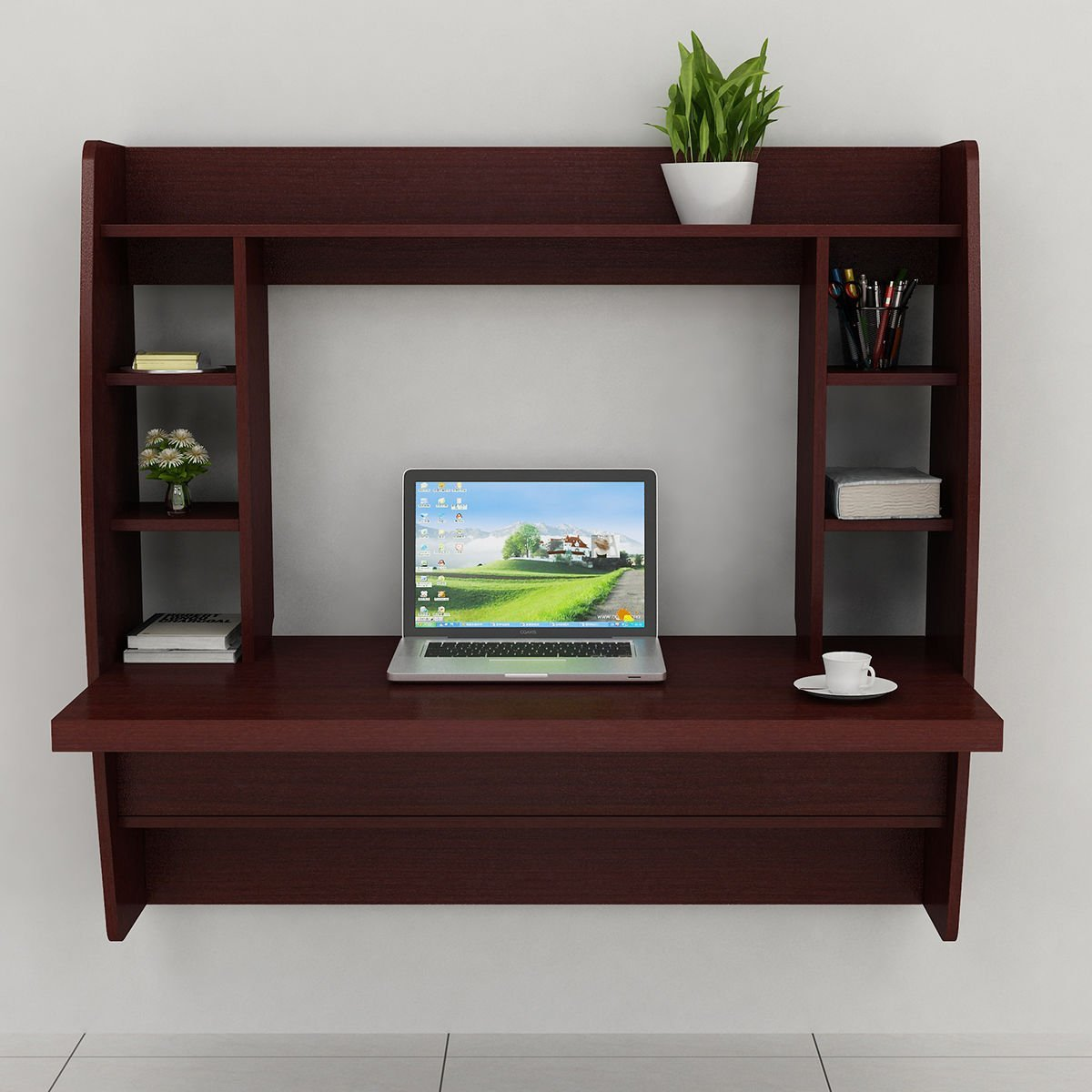 New Floating Wall Mount Computer Desk Storage Two Shelf Laptop Computer Home