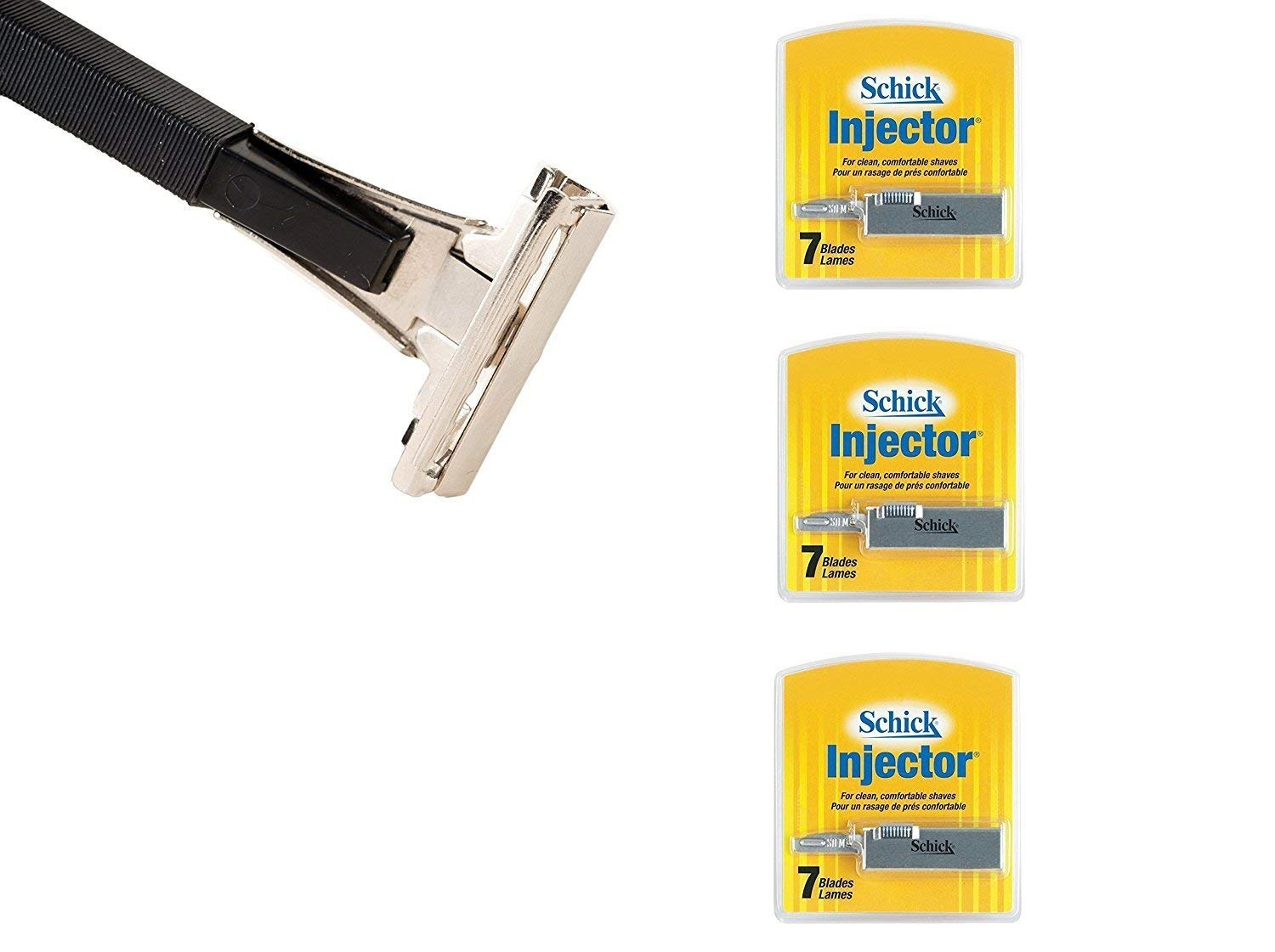 Shave Classic Single Edge Razor Handle with Schick Injector Refill Blades 7 Ct. (Pack of 3) + FREE Schick Slim Twin ST for Sensitive Skin