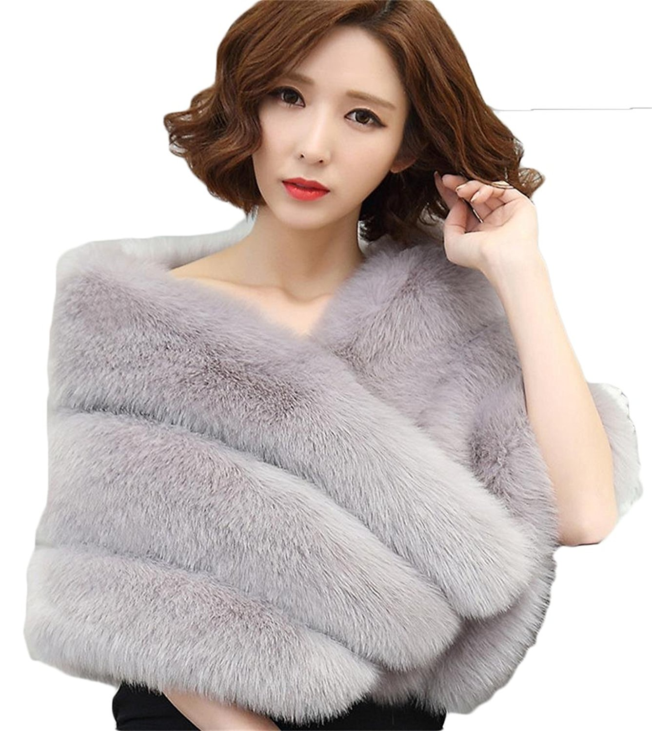 44b6f1672 BanZhang Women's Faux Fur Shawl Wedding Bolero Winter Formal Evening Bridal  Wraps B122